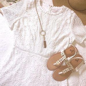 Adorable LOFT white lace overlay dress